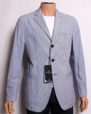 BOSIDENG Blue Needle Striped Decon Patch Cotton Suit Jacket Blazer Uk40 *BNWT*
